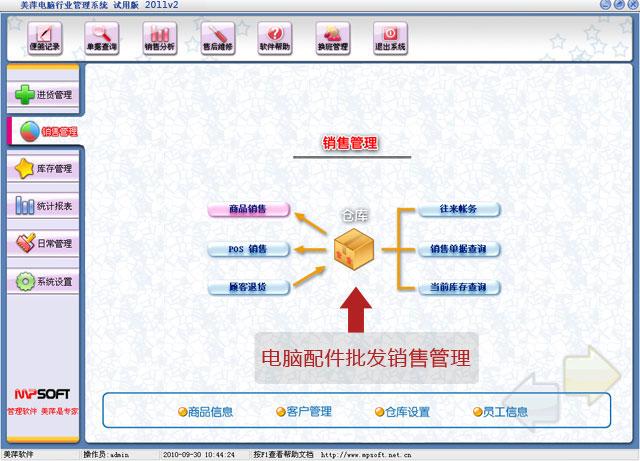 美萍电脑配件批发业务管理软件