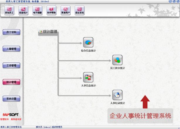 美萍企业人事统计管理系统-支持综合信息分析、员工信息统计
